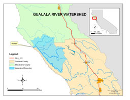 Location of the Gualala River Watershed