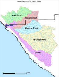 Sub-basins of the Gualala River Watershed