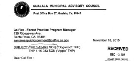 GMAC letter on Apple & Dogwood logging plans