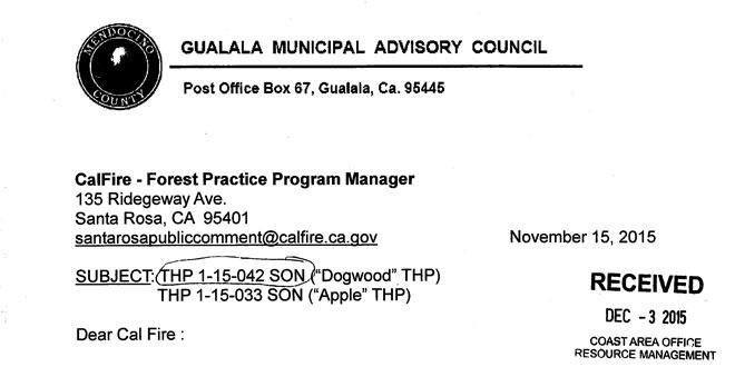 GMAC letter on Apple & Dogwood logging plans