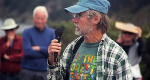 "Larry Hanson speaking at ""Rally for the River"" - July 16, 2016; photo credit: Anne Mary Schaefer"