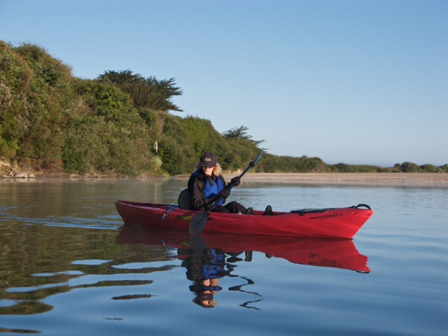 Rita Peck kayaking on the Gualala River by Craig Tooley