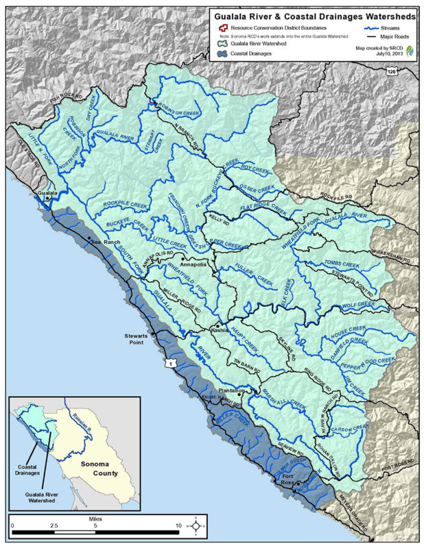 Gualala River & coastal drainages watersheds; map by Sonoma Resource Conservation District