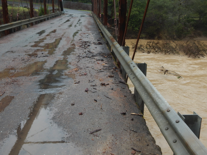 Feb 27, 2019: Wheatfield Fork Gualala River. Annapolis Road Bridge at Clark's Crossing (Stewarts Point-Skaggs Springs Rd.). Flood debris overtopped the bridge platform; overnight peak flood levels.