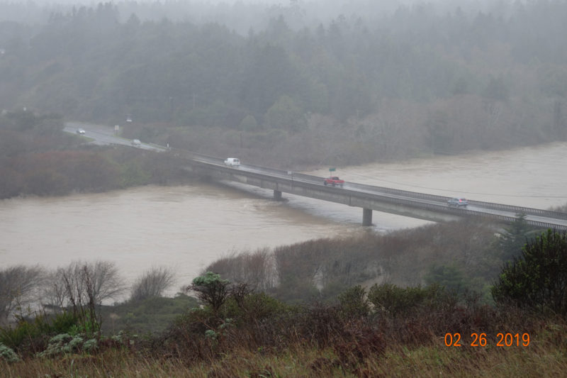 Gualala River bridge close-up during 'atmospheric river' (Feb. 26, 2019), photo by FoGR supporter