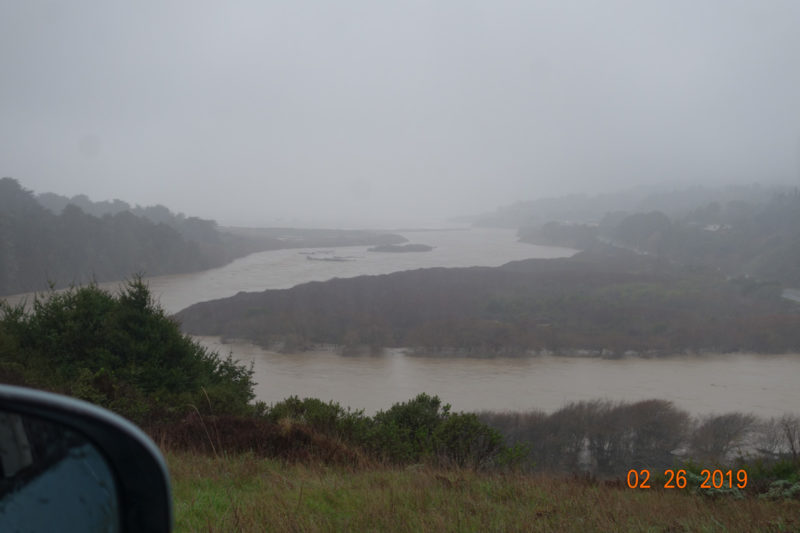 Gualala River estuary during 'atmospheric river' (Feb. 26, 2019), photo by FoGR supporter