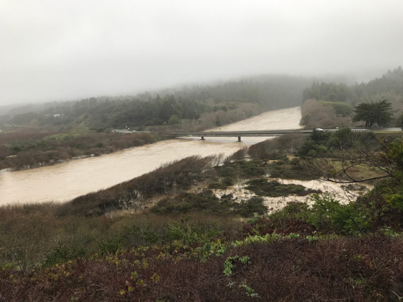 Gualala River bridge during 'atmospheric river' (Feb. 26, 2019), photo by Jeanne Jackson