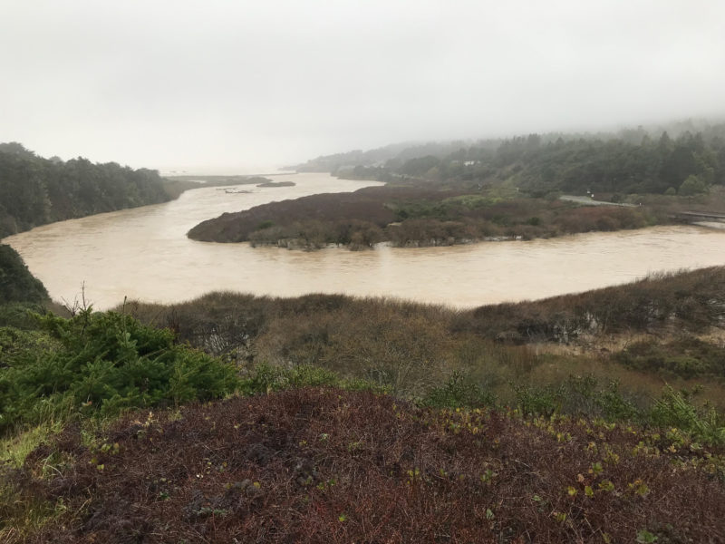 Gualala River estuary during 'atmospheric river' (Feb. 26, 2019), photo by Jeanne Jackson