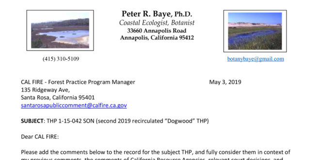 Dogwood THP comments by Dr. Peter Baye, May 2019