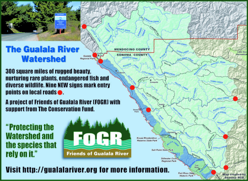 Map of Gualala River Watershed signs