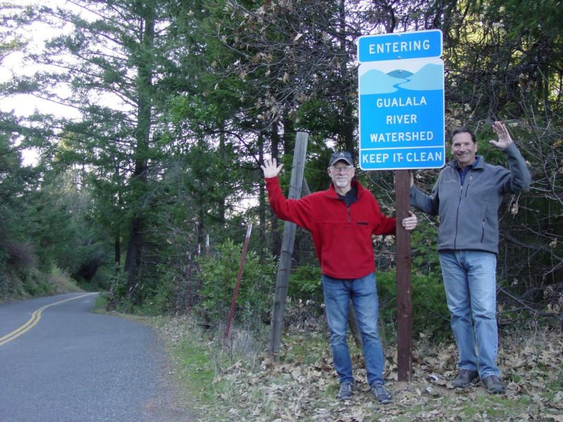Newly installed sign on Skaggs Springs Road in the eastern part of the Gualala River watershed, with Chris Kelly, California Program Director for The Conservation Fund (right) and Chris Poehlmann, Friends of Gualala River member and volunteer (left)