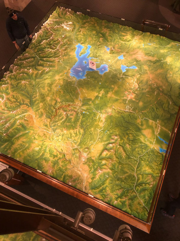 Topographical model exhibit in Yellowstone Park