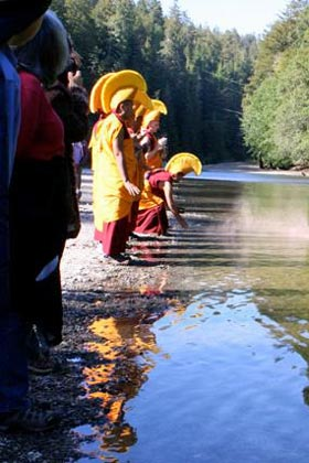 Gaden Shartse monks blessing the Gualala River, May, 2011