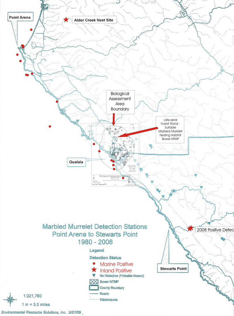 Bower NTMP: Biological Assessment Area Map combined with Marbled Murrelet Survey Map