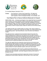 Press Release (pdf): Court Rejects Plan to Clearcut California Redwoods for Vineyard