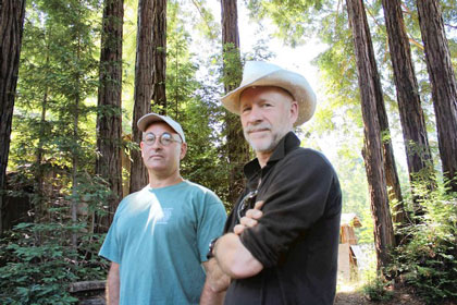 Chris Poehlmann, right, with fellow environmentalist Peter Baye (Louis Sahagun / Los Angeles Times)