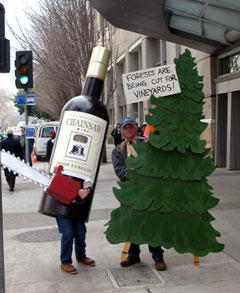 Chainsaw Wine protest in Sacramento