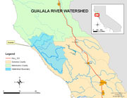 Map of the Gualala River watershed (small)