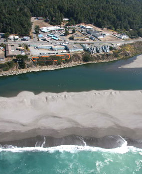 bluff above Gualala River estuary, with location of proposed retaining structure